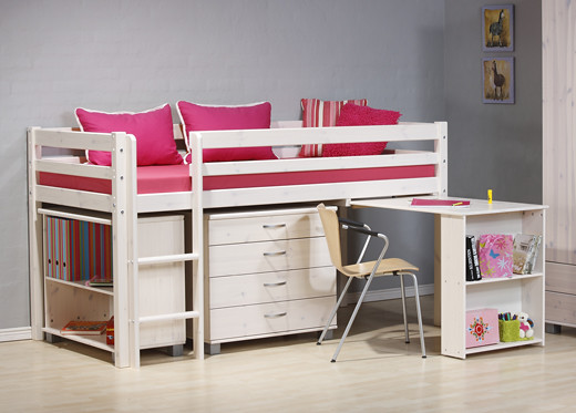 Kinder Midsleeper Bunk Bed in White Wash Wood by Dreams Beds and Mattresses