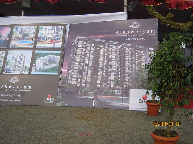 Display boards at Aishwaryam Courtyard 1 BHK 2 BHK 3 BHK Flats on Akurdi Chikhali Road