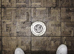 Detail: Front Elevator Floor (Gamma Infinity) Tags: floor glendale elevator 1928 monolith masonictemple otiselevatorco