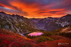 North Cascades Sunrise (Chip Phillips) Tags: park lake fall sunrise washington arm state hiking north pass foliage alpine national backpacking cascades cascade doubtful huckleberry sahale colorphotoaward flickrdiamond theunforgettablepictures thepowerofnow