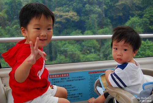 兄弟兩人纜車上看風景