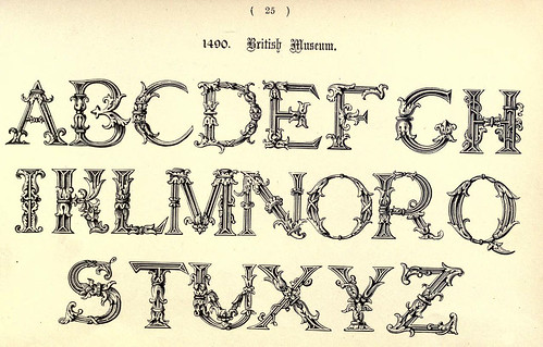 017- 1490 British Museum- The book of ornamental alphabets, ancient and mediaeval..1914-F. Delamotte