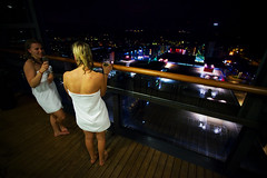 After sauna... (Timo Vehvilinen) Tags: city sky girl loft night espoo suomi finland lights cityscape balcony towel drinks leppvaara sauna parveke canon1740f4lusm panoramatower
