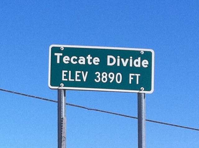 Tecate divide, elevation 3890 ft