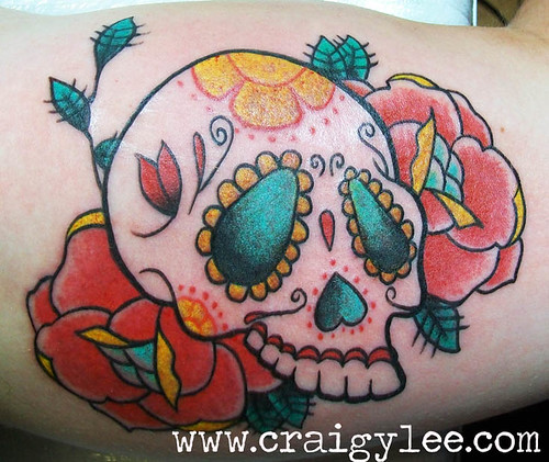 candy skull tattoo. sugar candy skull roses tattoo