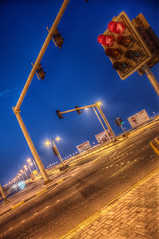 Stop! (heshaaam) Tags: light evening bahrain nikon traffic hdr d90 photomatix mantiuk qalali heshaaam
