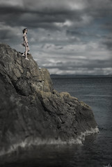 No Place Safer (zack_messer) Tags: sea water girl clouds moody bc cove britishcolumbia victoria edge glencoecove