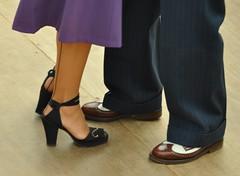 Sheringham 1940s Weekend 2010 No. 15 (David M:) Tags: england stockings fashion vintage fun dance shoes dancing weekend norfolk style rail steam nostalgia 1940s holt sheringham pinstripe 2010 twotone seams seamed turnups coast north d5000 nikon55200mmvr