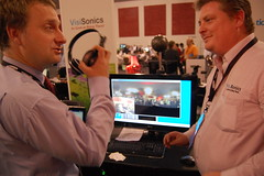 Jan Burianek, left, of AV Media, with Adam O'Donovan, CTO of VisiSonics