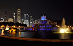 Buckingham Fountain in Electric Blue.... (Seth Oliver Photographic Art) Tags: chicago illinois nikon midwest skyscrapers cityscapes grantpark nightshots fountains trumptower chicagoloop buckinghamfountain pinoy downtownchicago nightscapes urbanscapes longexposures d90 nightexposures 10secondexposure bigcities modernbuildings moderncities shutterspeedpriority afterdarkphotography brightcitylights setholiver1 chicagoafterdark 18105mmnikkorlens nocturneimages tripodshotimage noppslightcropforcomp