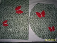 jogo de banheiro borboleta vermelha (Magia das Artes by Fadinha- rj) Tags: de jogo banheiro