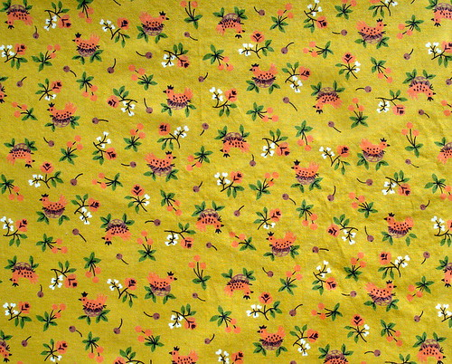 bird/chicken vintage fabric in mustard