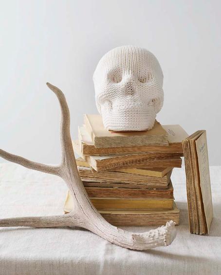 halloween decor, sweet paul magazine fall 2010 knit skull and horns