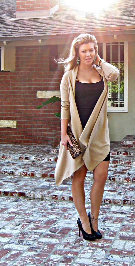 little black dress and long wrap cardigan leaopard bag dark