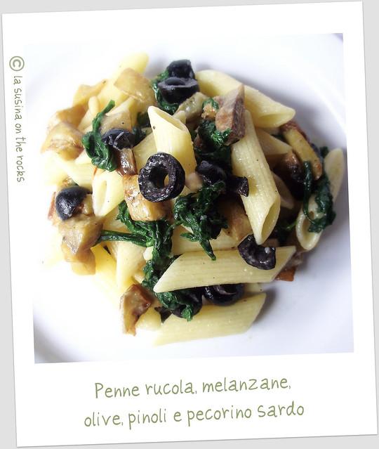 penne rucola, melanzane, olive, pinoli e pecorino sardo