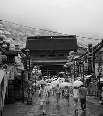 On The Way To Zenko-ji (aeschylus18917) Tags: street people blackandwhite cloud mist monochrome rain japan fog landscape ir temple nikon scenery gate d70 nikond70 buddhist surreal infrared  umbrellas prefecture nagano 1870mm pxt naganoken     1870f3545g  zenkji ni naganoshi  nikkor1870f3545g nimon danielruyle aeschylus18917 danruyle druyle   1870mmf3545gifdx nikkor1870f3545gdx gatenimon