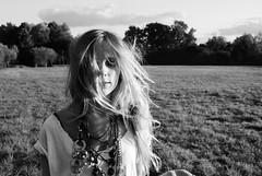 Windy (thesecators) Tags: bw white black tree field fashion vintage wind bra makeup vogue cover blonde smoky jewels mode tee junkie teeshirt halfnaked