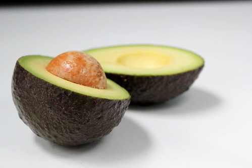 sliced open avocado