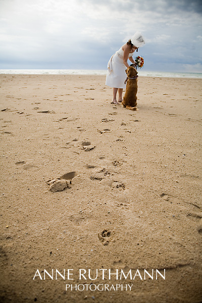 Bride & Dog Footprints on Beach