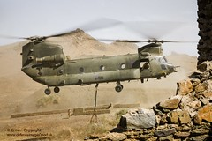Chinook Lifts Off With an Underslung Load (Defence Images) Tags: uk training exercise northafrica military free cargo equipment helicopter british chinook load defense defence fre royalairforce hc3 underslung jebelsahara