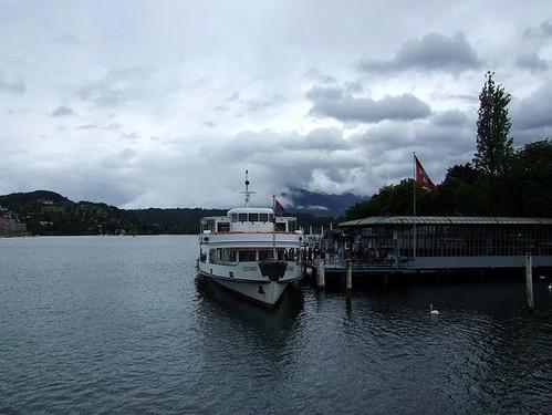 tourist boat preparing to leave on Lake Lucerne, Switzerland
