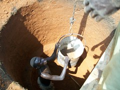 Lowering a bucket during excavation