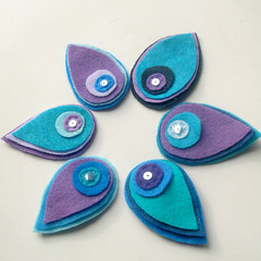 peacock hair clips (heartfelthandmade) Tags: blue hair purple handmade teal slide felt clip heartfelt accessory eacock