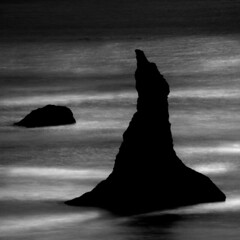 Monolith No 9 (Cole Thompson) Tags: ocean blackandwhite bw water oregon coast haystacks monolith colethompson