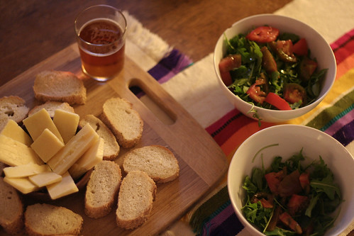 salad, bread, cheese, beer