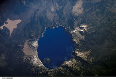 Crater Lake, Oregon (NASA, International Space Station Science, 07/19/06) (NASA's Marshall Space Flight Center) Tags: oregon volcano nasa caldera cascades threesisters craterlake 1001nights mountshasta wizardisland mountscott craterlakenationalpark internationalspacestation mountmazama stationscience crewearthobservation 1001nightsmagiccity