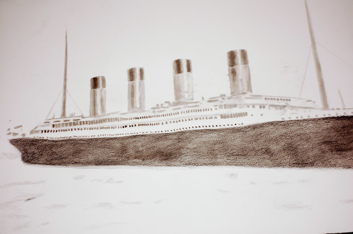 titanic. present for heidie. ink.