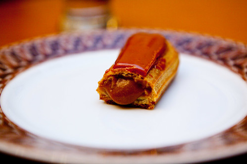 Innards of the caramel eclair