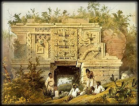 Un temple maya du Yucatán, illustration de Frederick Catherwood