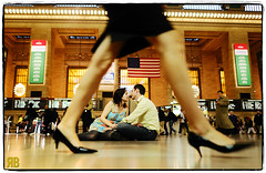 Beyond the Hustle and Bustle (Ryan Brenizer) Tags: nyc wedding woman man sexy love engagement nikon legs noflash grandcentralterminal d3s 24mmf14g