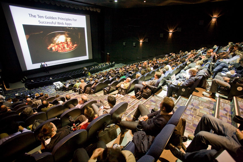 How do you host 475 #Democamp attendees? By putting the event in a movie theatre!