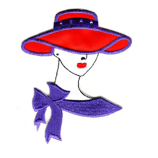 TF3240-Red-hat lady w-purple scarf & red hat+clear st.