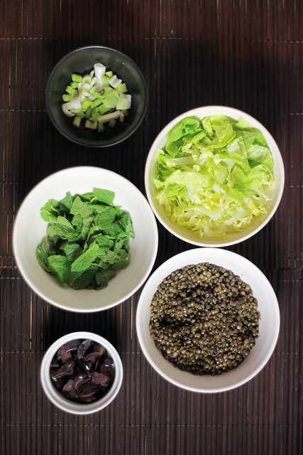 Mint, Olives, Lettuce, Lentils, Spring onions