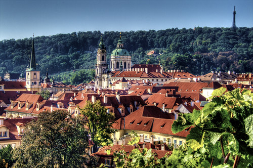 View of St. Nicholas church. Prague. Vista de San Nicolas. Praga.