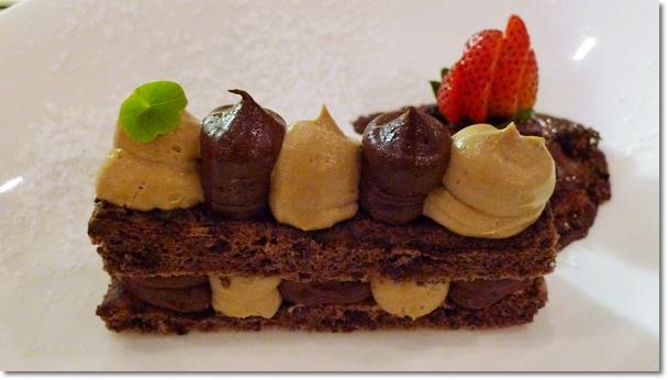 Hazelnut Cake with Espresso and Chocolate Mousse