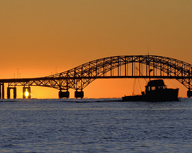 Chugging Along - Fisherman at Robert Moses Causeway at Sunrise, Long Island, New York