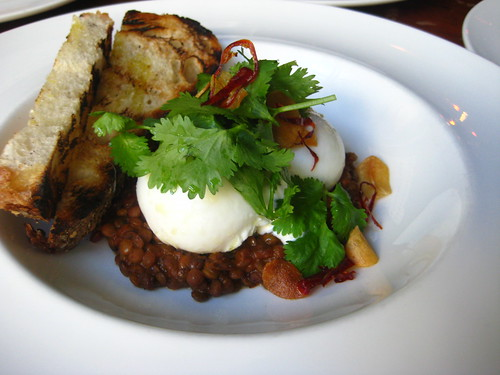 Poached Egg with Curried Lentils