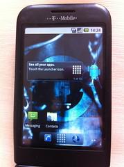 Cyanogen's Froyo (Android 2.2) home screen.