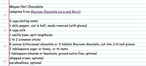 Mayan Hot Chocolate Recipe