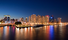 Rotterdam City @ Blue Hour (DolliaSH) Tags: city longexposure trip travel blue light vacation holiday haven holland color tourism water colors skyline night canon reflections river de lights noche rotterdam topf50 cityscape tour place nightshot nacht harbour wide nederland thenetherlands wideangle visit location tourist le journey destination bluehour traveling brug maas visiting topf100 ultrawide nuit 1022mm notte touring stad 1022 noch zuidholland erasmusbridge boompjes canonefs1022mmf3545usm southholland goldentulip 50d nachtopname manhattanaandemaas visitholland canoneos50d dollia dollias sheombar dolliash