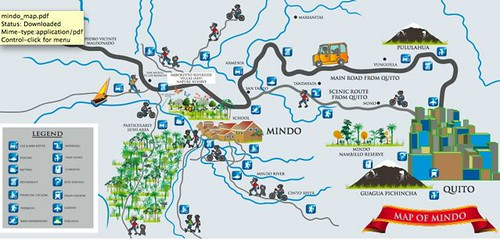mindo-ecuador-map. Map of Mindo and its surrounding areas.