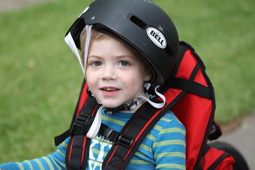 Finn's helmet may be a bit big for Charlie