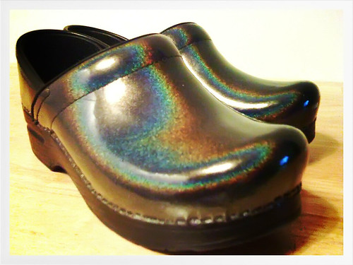 my new Dansko Professional Grey Prism Patent Clogs