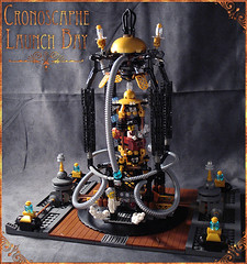 Cronoscaphe Launch Bay front (captainsmog) Tags: wood rivets lego time platform goggles engine machine wells device steam hose copper custom exploration brass gears diorama steampunk moc