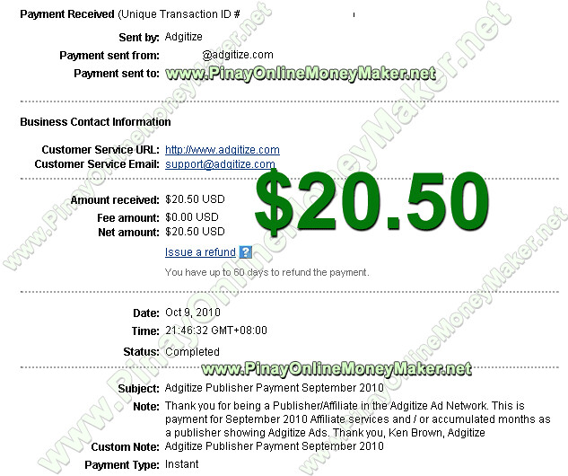 Adgitize Payment Proof $20.50 on October 9, 2010 - PinayOnlineMoneyMaker.net