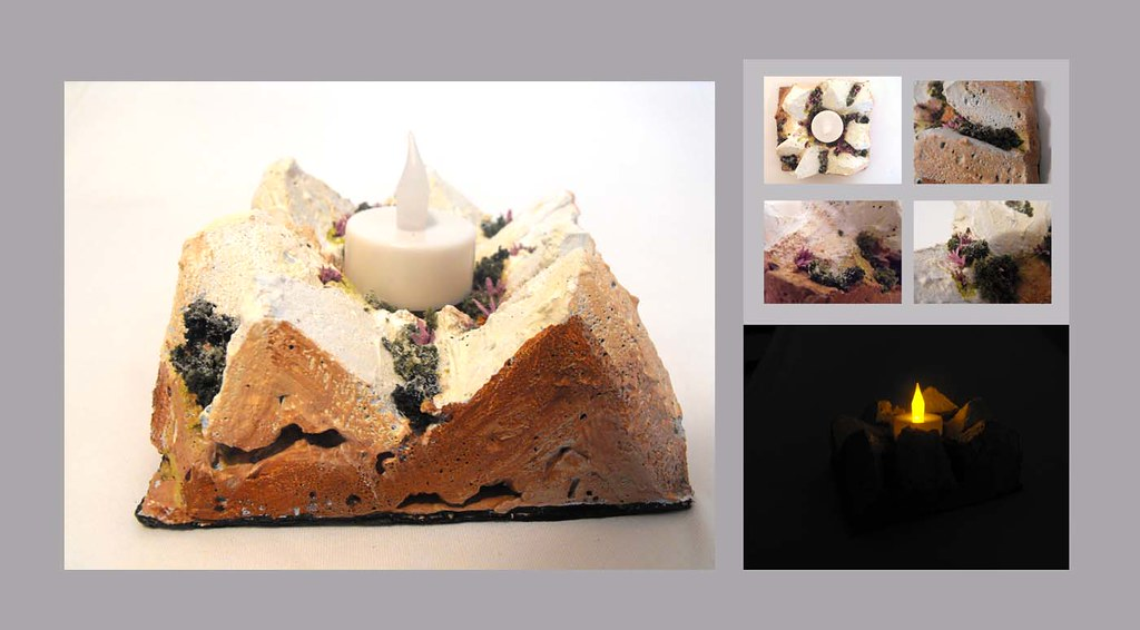 Decorative Handmade Candle Holder. Spring blossom.